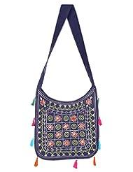 Rajrang High Quality Cotton Embroidered Circles Blue Sling Bag