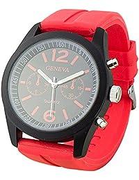 Geneva Unisex Mens Womens Red Silicone Band Quartz Wrist Watch Jelly Watches