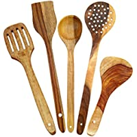 Shilpi Handmade Wooden Serving And Cooking Spoon Kitchen Tools Utensil, Set Of 5
