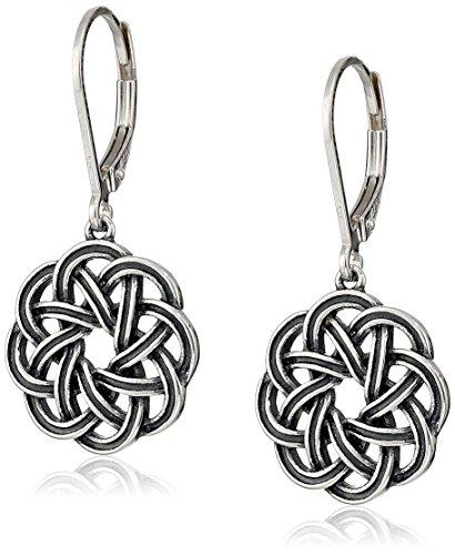 Sterling Silver Oxidized Celtic Knot Lever-Back Drop Earrings