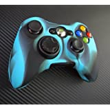 Two Pieces Set 2x Brand New High Quality Xbox 360 Remote Controller Silicon Protective Skin Case Cover Blue Black...