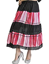 Exotic India Black And Red Shaded Midi-Skirt With Embroidered Sequins - Black