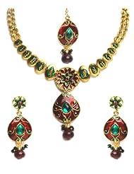 Shining Diva Elegant Kundan Necklace Set With Maang Tika For Women