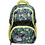 Gleam Adventure Multicolour Polyester School Bag ( Green & Black )