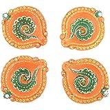 Celebrations Diwan-e-aam Royal Collection Terracotta Diyas (9 Cm X 7 Cm X 2 Cm, Green & Orange, Pack Of 4)