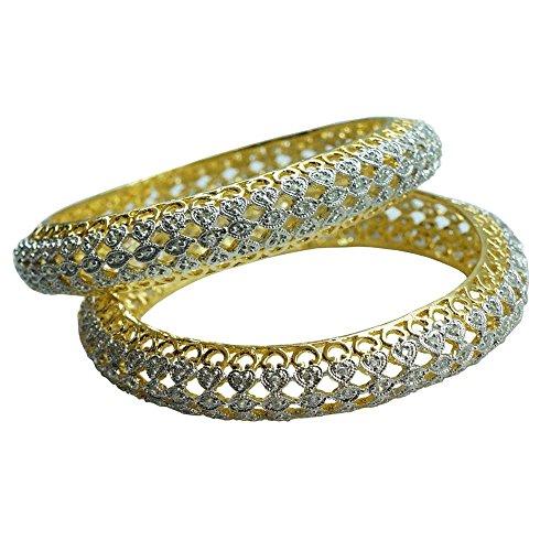 Sheetal Jewellery Silver & Golden Brass & Alloy Bangle Set For Women - B00TIH3WCY