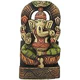 Divya Mantra Wall Decor Hand Carved Single Piece Wooden Sitting Ganesha