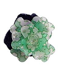 DollsofIndia White And Light Green Acrylic Flower Hair Band - Acrylic - Green