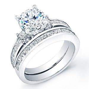 2.30 ct round cut diamond wedding engaement anniversary bridal ring set band