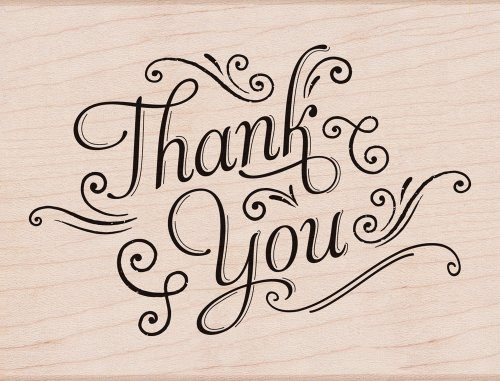 Thank You with Flourishes Rubber Stamp