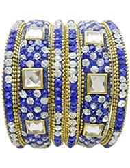 Blue Gold Plated Designer Bangles Set By My Design(size-2.8)