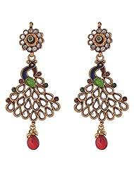 The Jewelbox Antique Gold Plated Peacock Meena Kundan Long Earring
