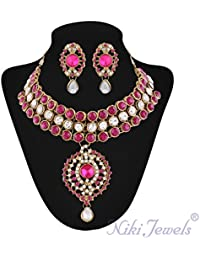 Niki Jewels Alloy Necklace Set For Women (Multicolour) (010 168 Rani 214)