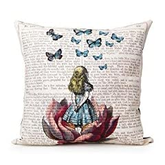 Akery Unique Design Alice In Wonderland Cotton Linen Throw Pillow Cases Cushion Covers, 18