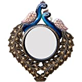 Divraya Wood Peacock Wall Mirror (33.02 Cm X 4 Cm X 40.64 Cm, DA143)