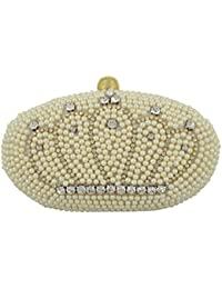 Tooba Women's Clutch (White, White Crown Oval)