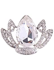 Chola Silver Finish Lotus Shaped Brooch With Big Stone In The Centre N Small Crystals On The Sides ( Silver )