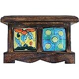 2 Drawer Handmade Chest Of Drawer Wooden Frame Masala Jar Rack Multicolor Spice Box Handmade Painting Pattern... - B01EFMO5IQ