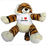 Plush Tiger Toy with I Love Amistad t-shirt (first name/surname/nickname)