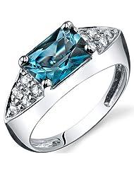 Peora Sleek Sophistication 1.75 Carats London Blue Topaz Cubic Zirconia Ring In Sterling Silver Rhodium Finish...