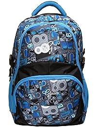 Gleam Adventure Multicolour Polyester School Bag ( Sky Blue & Black )