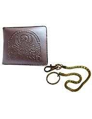 Apki Needs Trendy And Fashionable Mens Brown Wallet And Golden Chain Keychain Combo