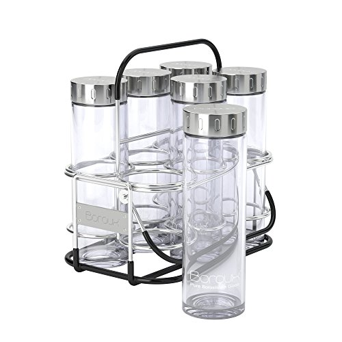 Boroux ® Starter Kit - 6 Pure Borosilicate 16.9 Oz Reusable Glass Water Bottles With Stainless Steel Lid And...