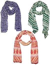 Weavers Villa Set Of 3 Premium Soft Summer Vibrant Coloured Trendy Scarf, Stoles, Dupattas
