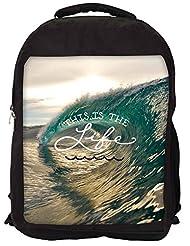 Snoogg Beach Wave Life Backpack Rucksack School Travel Unisex Casual Canvas Bag Bookbag Satchel