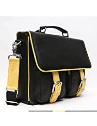Areeehanz Chic Collection Genuine Premium Leather Messenger Bag In Black With Four 4 Free Gifts
