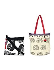 Pick Pocket Combo Of Black And White Sling Bag With Accure Tote With Elephant Print