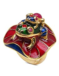 18.80 Grams Red Synthetic Stone & Ruby Gold Plated .925 Sterling Silver Frog Shape Blue, Green & Red Enamel Ring