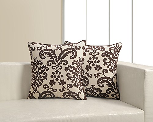 Printed Cushion Cover Set Of 2 Poplin Fabric 18X18 Inch,CP182-9009,White And Brown
