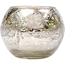 Luna Bazaar Luna Bazaar Vintage Mercury Glass Candle Holder (3-Inch, Mary Design, Globe Shape, Silver) - For Use...