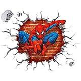 3D Spiderman Waterpoof Wall Sticker Home Decor Decal Cartoon Mural Art Wallpaper
