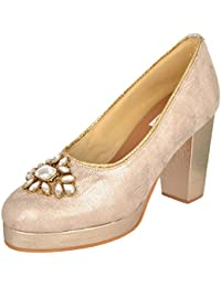 Maarie Barrie Women's Indo-Western Party Wear Shoes Gold Pumps - 5 UK