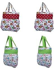 Home Pluss 4 Piece Women's Casual Fancy Bag( Red & Green, Multi Design)