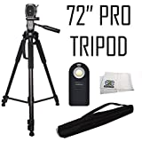 Professional 72-inch Tripod 3-way Panhead Tilt Motion With Built In Bubble Leveling + Wireless IR Remote Control...