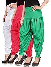 Navyataa Women's Lycra Dhoti Pants For Women Patiyala Dhoti Lycra Salwar Pant Free Size (Pack Of 3) White , Pink...