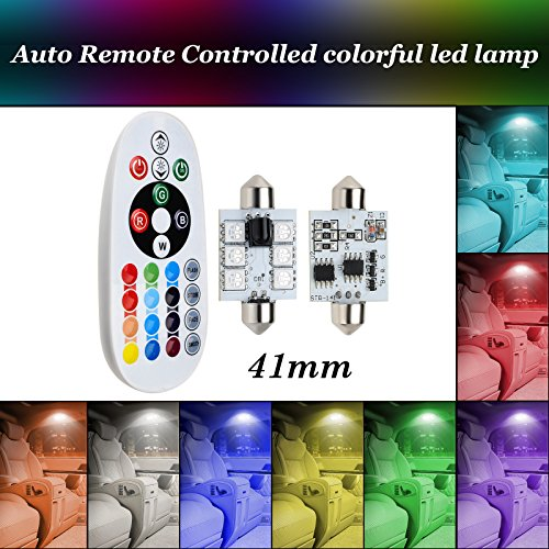 12V Demo Car Lights Bulb Remote Controlled Car Interior Lights by eTzone, Multicolored, 5050W SMD Led Lights (41mm)