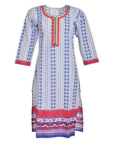 Global Women's Cotton Straight Kurta (GW64Whitep40015, Multi, 40)