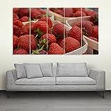 Inephos Multiple Frames Beautiful Strawberries Wall Painting (150cm X 76cm)