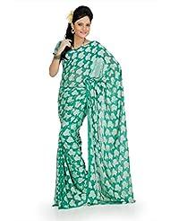Designersareez Women Georgette Jacquard Printed Jade Green Saree With Unstitched Blouse(728)