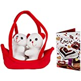 Celebrations Plush Red N White Love Couple Boat With Valentine Card Combo (6 Inch)