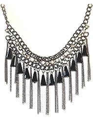Sansar India Black Crystal Statement Trendy Tassel Necklace For Girls And Women