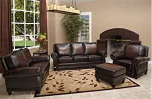 colors for the bedroom abbyson venezia 4 brown leather sofa set 14914
