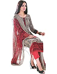 Exotic India Ivory-Cream And Red Printed Parallel Salwar Suit With Printed - Red
