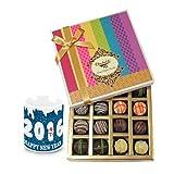 New Year Pretty Gift Box Hamper With New Year Mug - Chocholik Belgium Chocolates