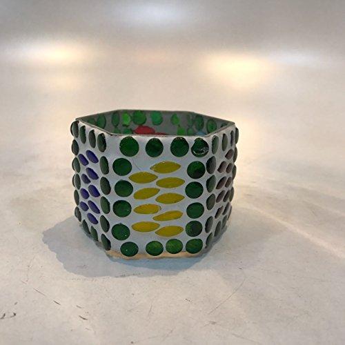 Dlite Crafts Multicolor Polka Design Home Decorative Votive Candle Holder, Set Of 2 PCs - B06XYJN9ZQ