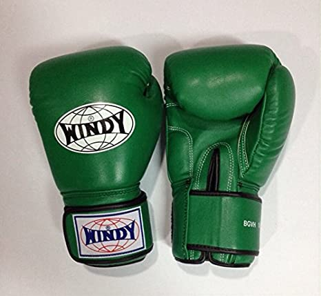 Auth Windy Muay Thai Gloves Kickboxing K1 Windy Boxing Gloves Leather Green - 14 Oz